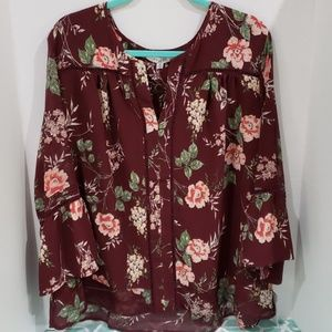 Floral maroon fever blouse
